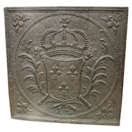 Large 18th Century Coat of Arms Fireback from France