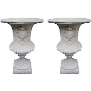 Pair of Large French Cast Stone Urns in Antique Cream/Sandstone Finish