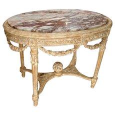 Antique Parcel Paint Louis XVI Center Table with Musical Motifs