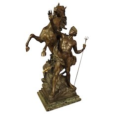 Antique French Statue of Neptune 'Creant Le Cheval'