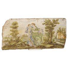 Antique Painted Tile from Italy, 17th Century