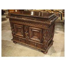 French Walnut Wood Renaissance Buffet
