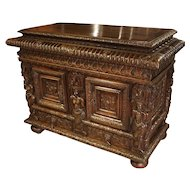 French Walnut Wood Renaissance Buffet
