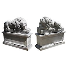 """Pair of Large Carved Stone Lions on Pedestals, """"The Sleeping and The Vigilant"""""""