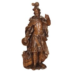A Wonderful 17th Century Oak Statue of Saint Florian, Patron Saint of Firefighters