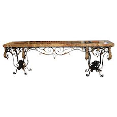 Fantastic 1920's Forged Iron and Marble Console Table from France