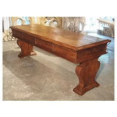 19th Century Walnut Wood Refectory Table from Italy