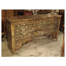 A Large Patinated Wood and Iron Console Table from India