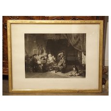 Antique Giltwood Framed French Lithograph from 1866