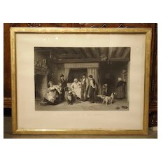 Antique Giltwood Framed French Lithograph from 1867