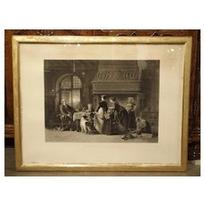 Antique Giltwood Framed French Lithograph from 1868