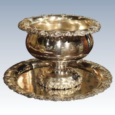 A Circa 1900 Silver Plated Punch Bowl and Tray