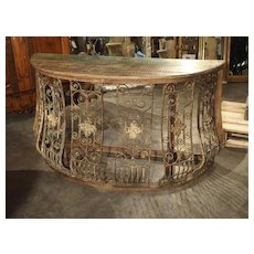 Wood and Iron Grille Demi Lune Console Table from India