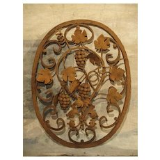 Decorative Oval Iron Wall Hanging with Scrolling Grape Vines