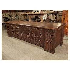 A Long Circa 1800 Gothic Style Oak Board Trunk from France