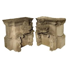 Pair of Late 18th Century Carved Limestone Architecturals from France