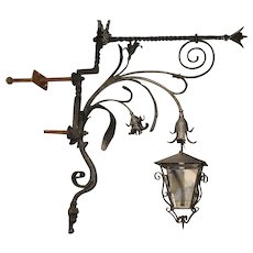 Massive Circa 1700 Forged Iron Lantern Holder from a Castle in Wallonia Belgium