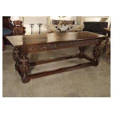 Antique Oak Elizabethan Style Table, England 19th Century