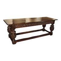Antique Oak Elizabethan Style Table, England 19th Century