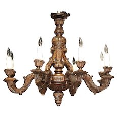 French Louis XIV Style Carved Wood Chandelier