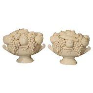 Pair of Decorative Italian Creamware Bowls of Fruit, 20th Century