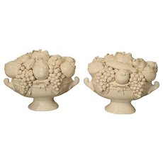 Pair of Decorative Italian Creamware Bowls of Fruit, 20th Century