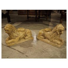 Pair of 16th Century Style Italian Giallo Reale Marble Lion Column Supports
