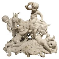A Fine 19th Century Porcelain Capodimonte Group of Cherubs and a Goat