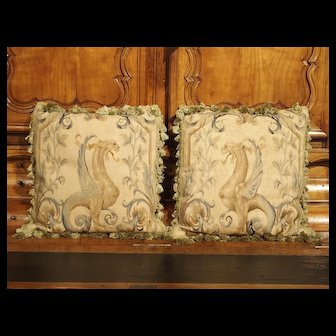 Pair of French 17th Century Aubusson Tapestry Pillows with Tassels