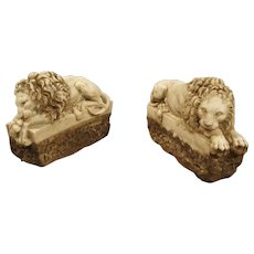 """Pair of Small Italian Carved Lions """"The Sleeping and The Vigilant"""""""