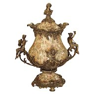 Hand Painted French Faience and Gilt Bronze Mounted Urn