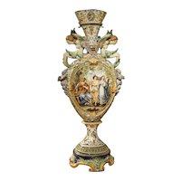 Tall Painted Italian Majolica Vase Circa 1860