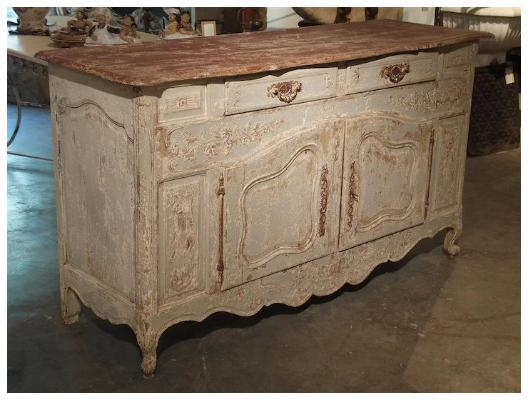 Antique French Blue Painted Buffet from Provence, Circa 1900 - Antique French Blue Painted Buffet From Provence, Circa 1900 : Le