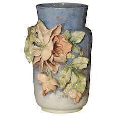 19th Century Blue Barbotine Vase from France, Edouard Gilles