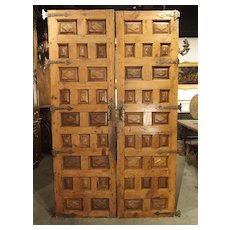 Pair of Circa 1800 Walnut and Pine Doors from Spain