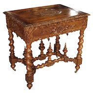 A Fantastic 19th Century Walnut Wood Table and Jardiniere