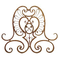 Large 18th Century Wrought Iron Gate Overthrow from Poitiers France