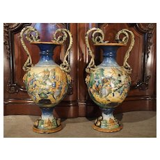Pair of 19th Century Italian Majolica Urns