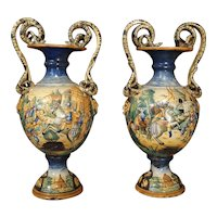 Pair of 19th Century Italian Majolica Urns