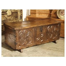 Large Carved Oak Plank Trunk from the Basque Country, Circa 1650