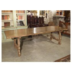 Antique Stripped Single Plank Chestnut Table from Spain