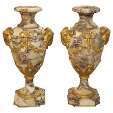 Pair of Period Napoleon III Marble and Gilt Bronze Cassolettes from France, Circa 1860