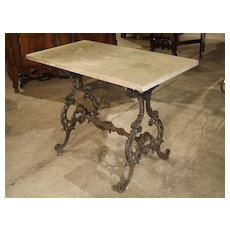Antique French Cast Iron and Marble Garden Table, Late 19th Century