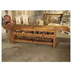 """Antique """"Bourgogne"""" French Wine Carrier Converted from a Workbench"""