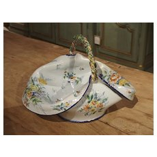 Antique Faience Basket from France, Circa 1900