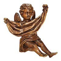 Antique Carved Wooden Cherub from Puy-En-Velay France, 18th Century