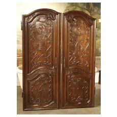Pair of Unusual 18th Century French Oak Fleur De Lys Doors