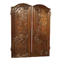 Pair of Unusual 18th Century French Oak Fleur De Lys Doors