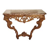 Early 18th Century Oak Regence Console with Rouge Marble Top