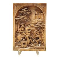 Deep Relief Carved Black Forest Plaque, Circa 1890